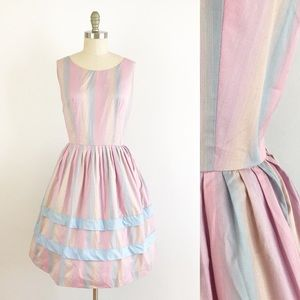 1950s Cotton Candy Pastel Fit Flare Dress XL U877